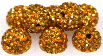 12mm Golden Brown 130 Stone  Pave Crystal Beads- Half Drilled  PCBHD12-130-017